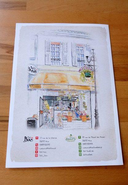Le menu du Deli Bao à Nice