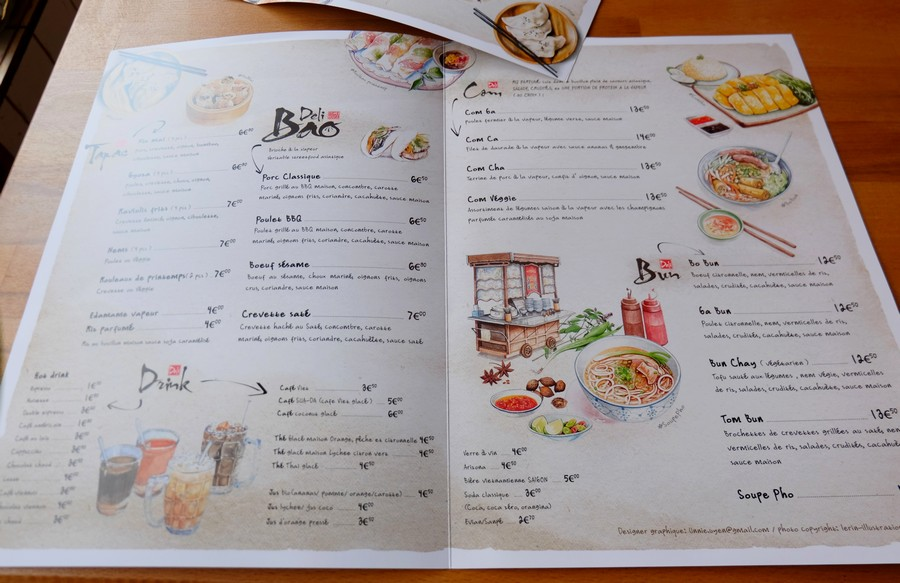 La carte des plats du Deli Bao à Nice