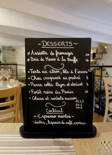 Les desserts du restaurant Le Panier à Nice