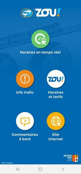 Ecran d'accueil de l'application des Chemins de Fer de Provence