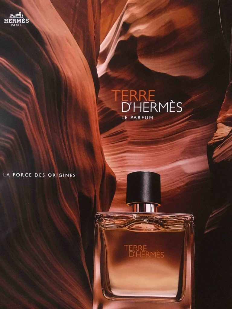 Affiche du Parfum Terre d'Hermès, parmi les blockbusters Mainstream Homme