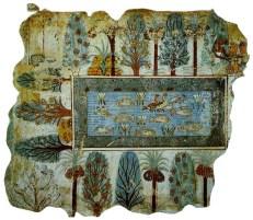 Dessin représentant un jardin Egyptien