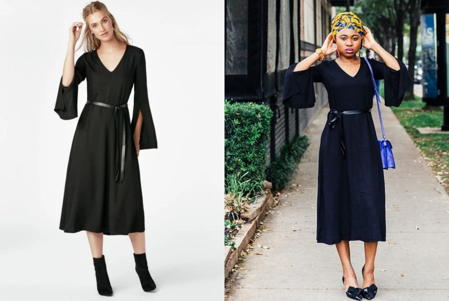 fed46105e1 A side by side comparing wearing a JustFab Belted Midi Dress. Is JustFab a  scam