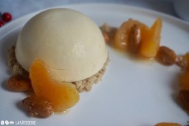 Sieht toll aus und schmeckt auch so: Das Weihnachtsdessert mit Mandarine und gebrannter Mandel.
