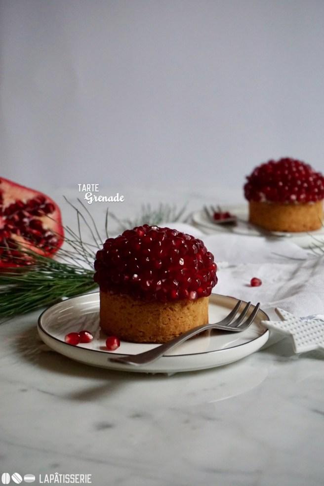 Mein Weihnachtsdessert 2017: Tarte Grenade mit Granatapfel und Vanillecreme.