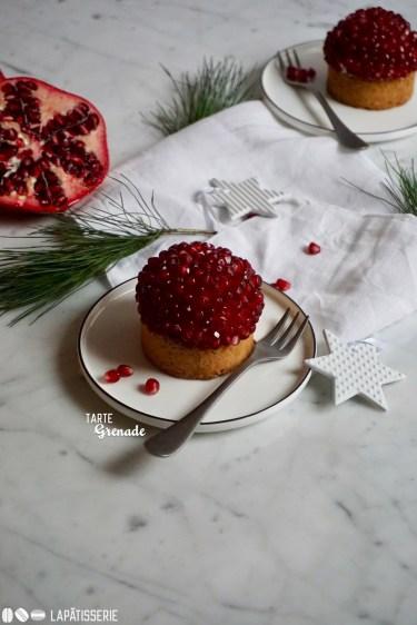 Der Nachtisch für unser Weihnachtsmenü: Tarte Grenade mit frischem Granatapfel und luftiger Vanillecreme.