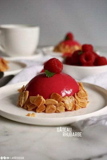 Gâteau Rhubarbe - Kleine Törtchen mit Rhabarberkompott, luftiger Himbeermousse und Mandelkrokant.