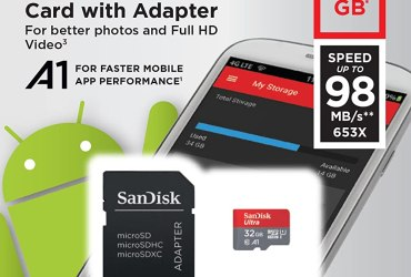SanDisk 32GB Ultra microSDHC UHS-I Memory Card with Adapter – 98MB/s, C10, U1, Full HD, A1, Micro SD Card – SDSQUAR-032G-GN6MA