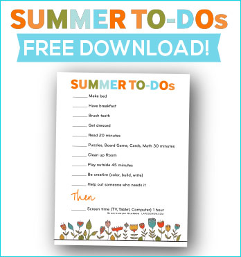 Free SUMMER TO-DO list for kids