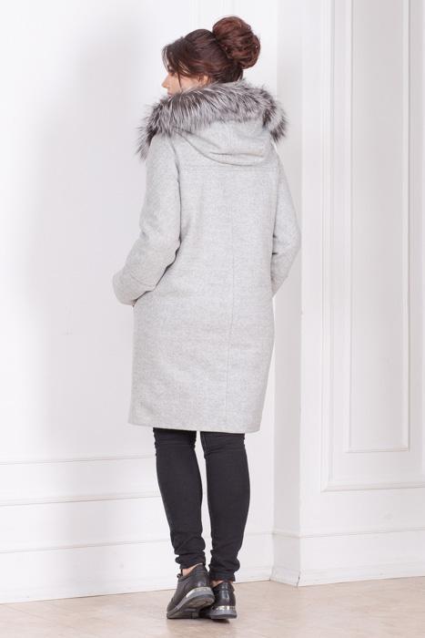 Зимнее пальто-парка с капюшоном и мехом Вера сзади