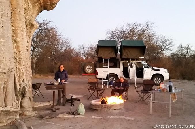camp avec le 4x4 au Botswana