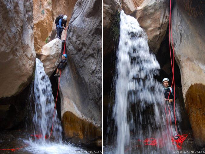 Rappels dans le canyon au Maroc