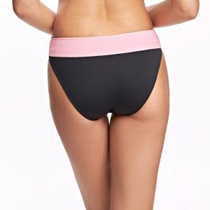 Bikini negro con aplique en cintura en contraste