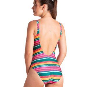 Bañador multicolor con espalda baja y cuello redondo