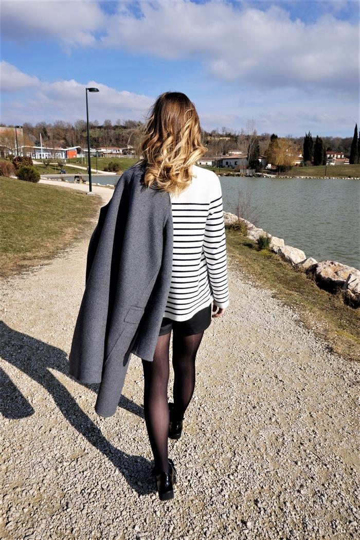 Look pull marinière short simili cuir - La Petite Frenchie