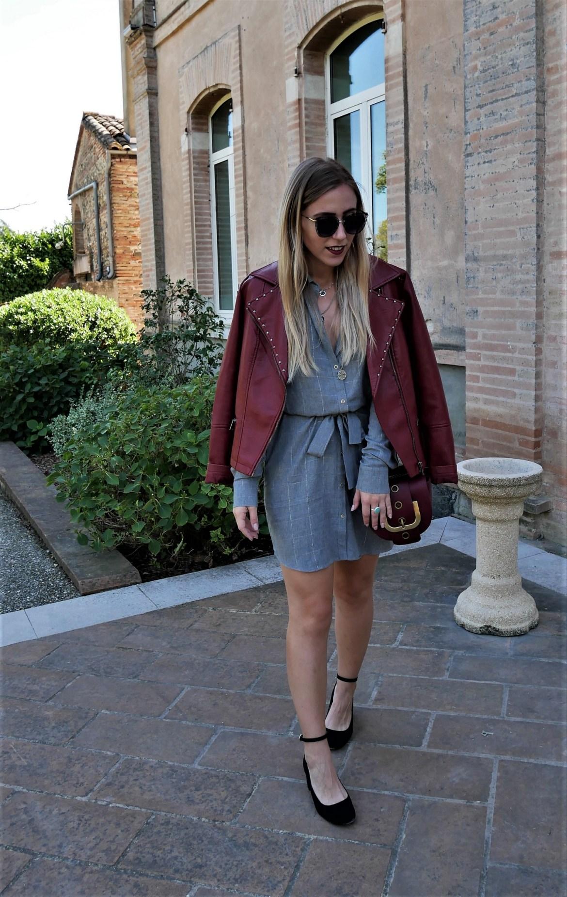 Look robe chemise & perfecto carmin - La Petite Frenchie