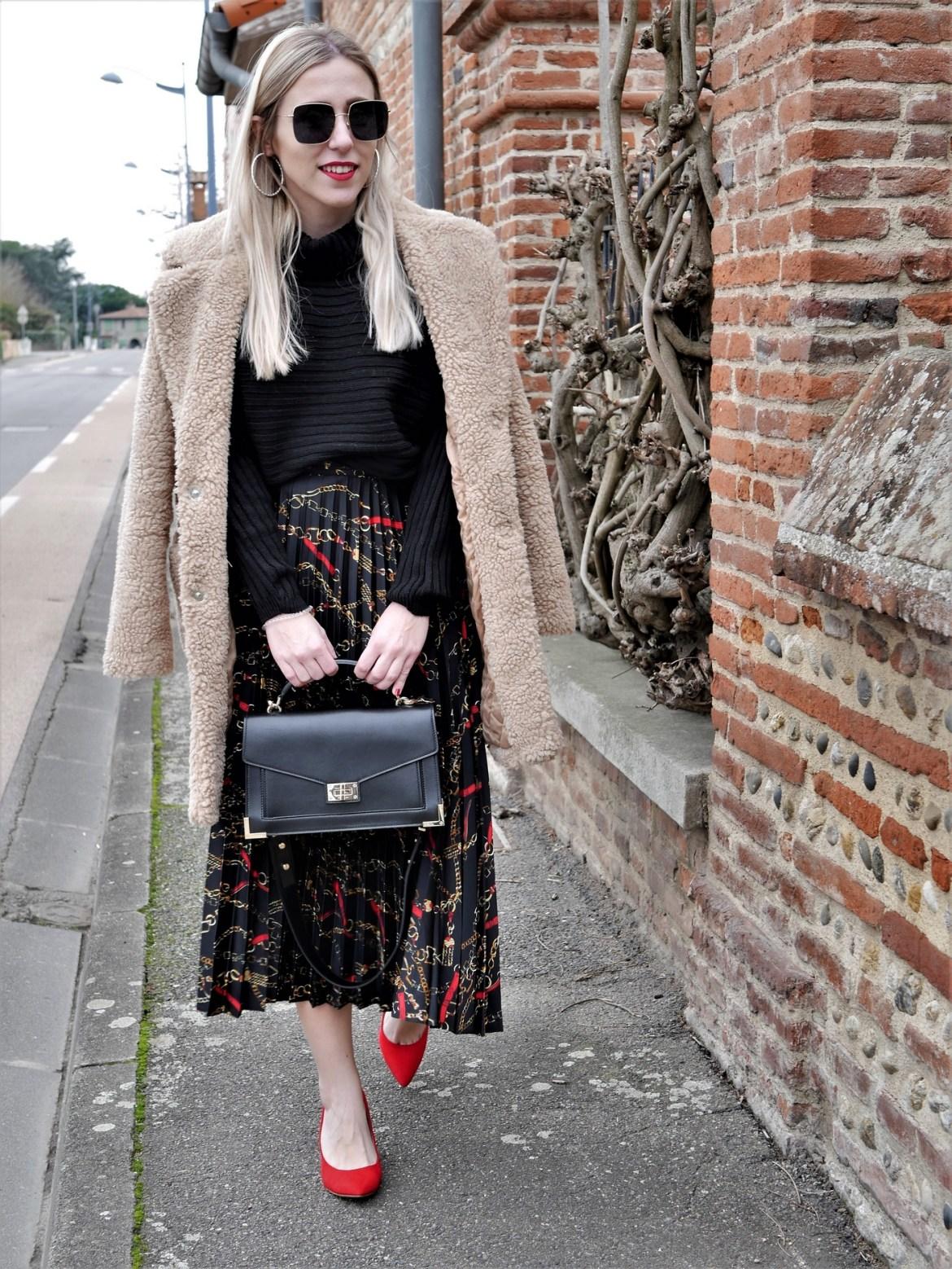 Look jupe longue imprimé foulard & sac The Kooples - La Petite Frenchie