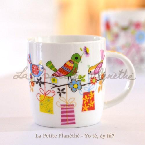 Taza de porcelana Primavera - Pájaros