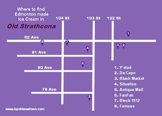 Edmonton Ice Cream in Old Strathcona map, La Petite Watson