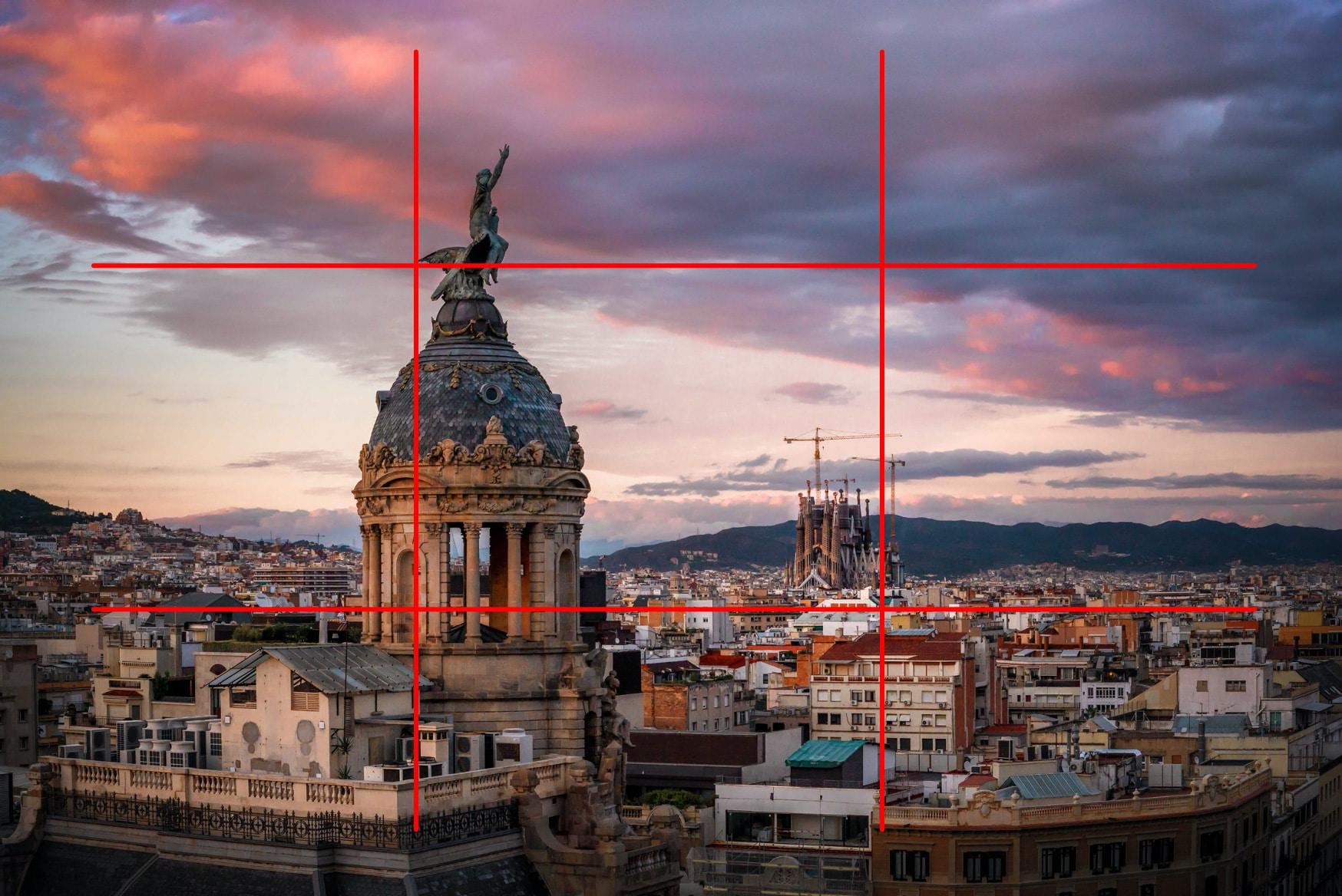 """Paysage Barcelone - Image illustrant l'article """"Travailler la composition avec la règle des tiers"""" - La Photo clic par clic"""