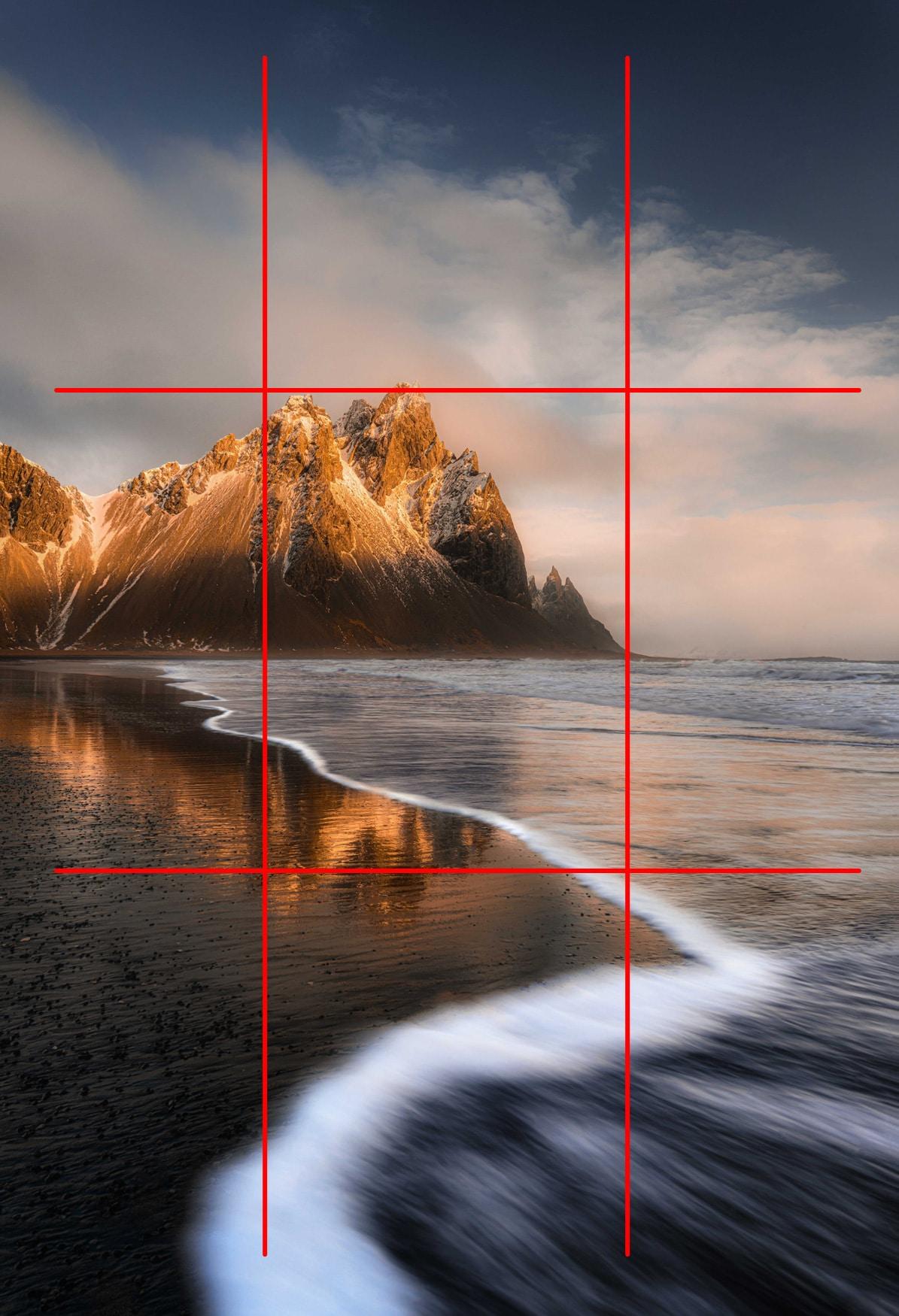 """Plage de Stokksnes Islande - Image illustrant l'article """"Travailler la composition avec la règle des tiers"""" - La Photo clic par clic"""