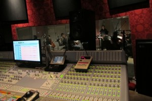 Conducting a string section at Firehouse Studios in Pasadena.