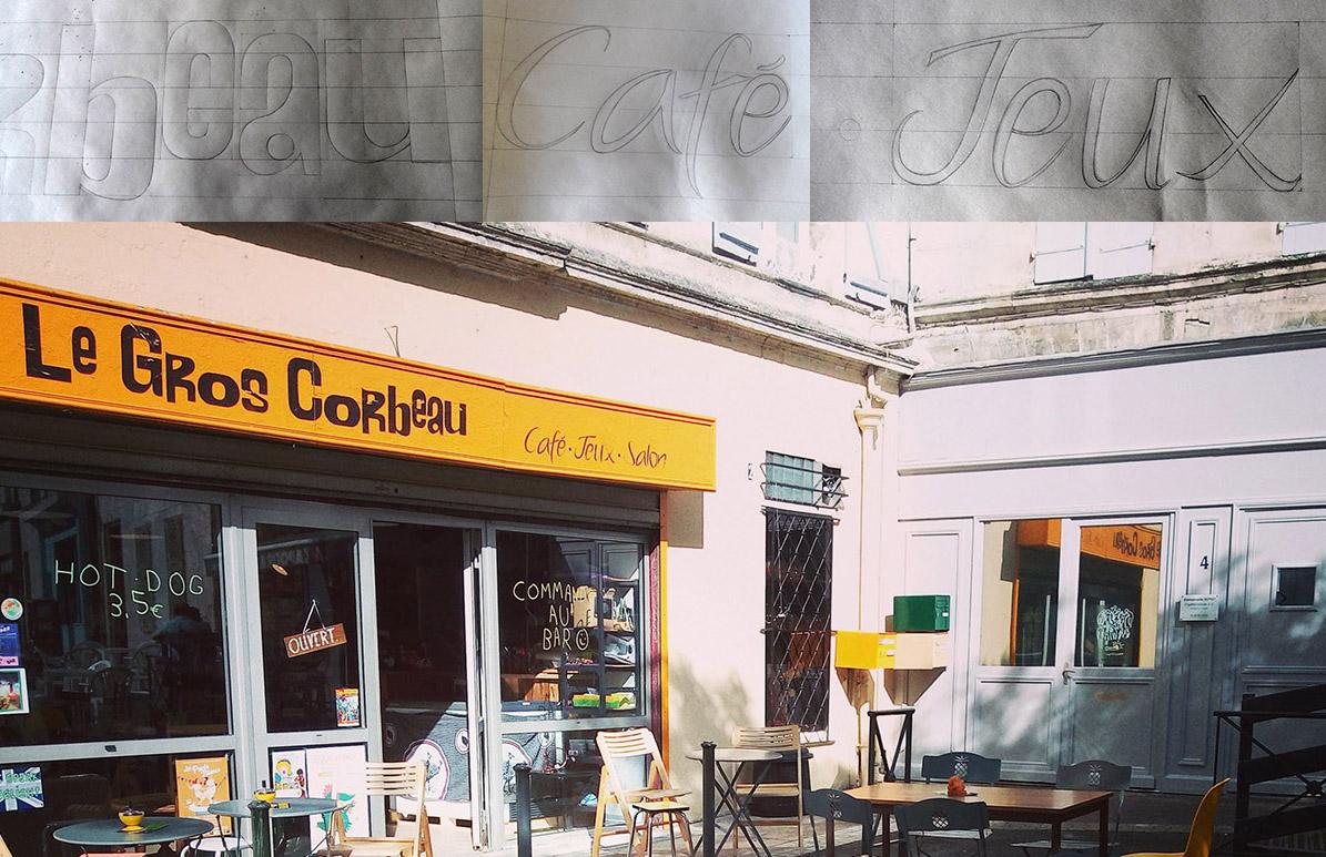 Tracé de l'enseigne du café-jeux Le Gros Corbeau à Angoulême