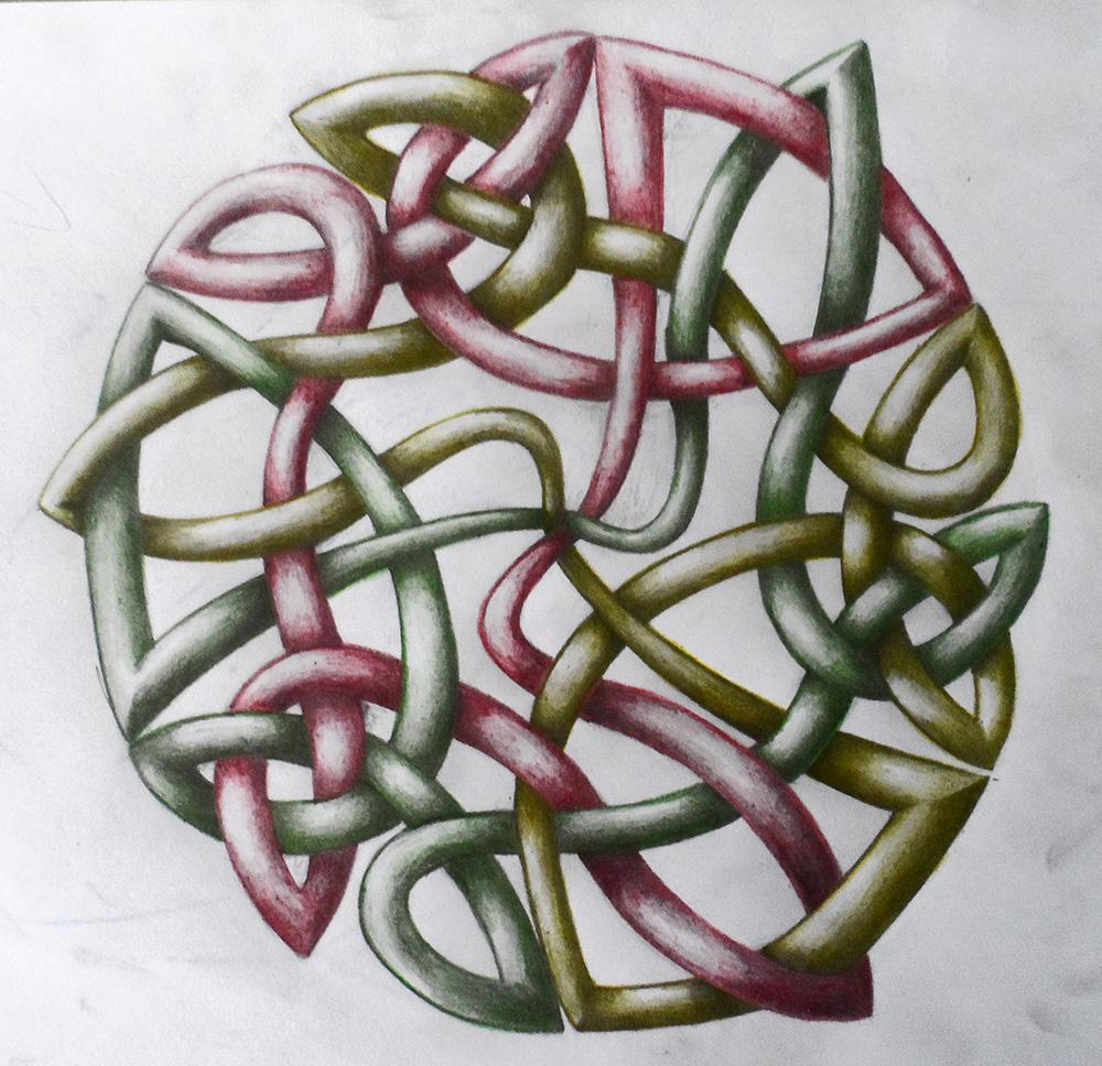 Entrelac circulaire fait au crayon et crayons de couleur
