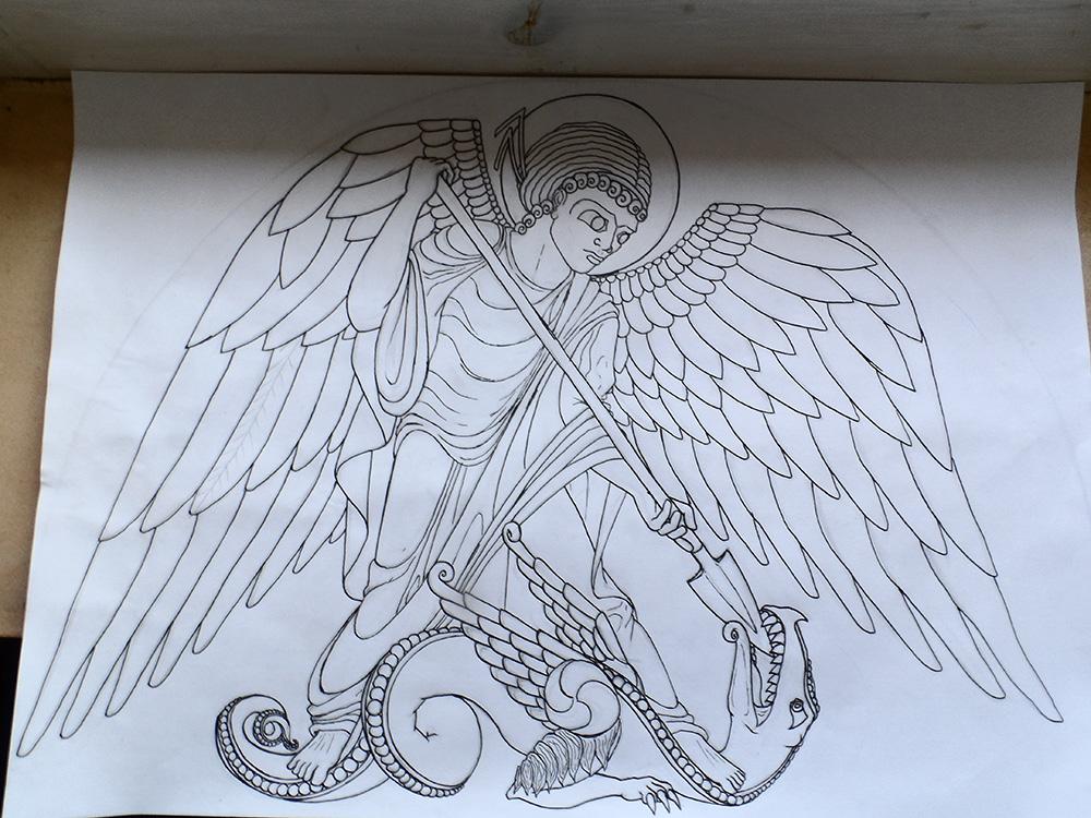 Tracé de l'archange Michel terrassant le dragon.