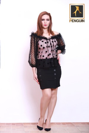 Code_[Mena125]_Dotted_blouse_short_skirt_buttons