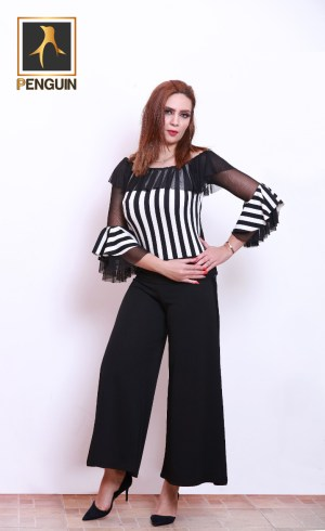 Code_[Mena188]_Striped_blouse_skirt_trousers