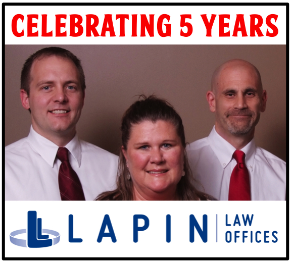 Celebrating 5 Years - Lapin Law Offices and Staff (Patrick Driver, Jill Tiinelly and Jeffrey Lapin)
