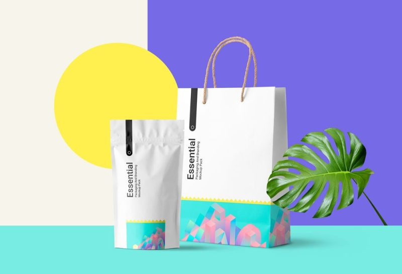 Pouch Pack and Carton Bag Mockup