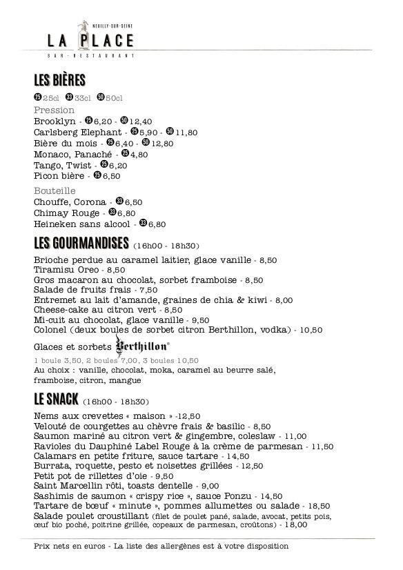 Menu, carte, bières, gourmandises, snack, La Place, Neuilly