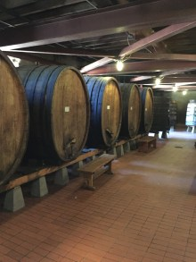 Oak barrels inside Beringer Winery