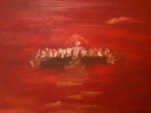 Cène, huile sur toile, 25x30 cm, GLSG, Mai 2011