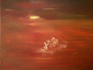 Fuite en Egypte, huile sur toile, 25x30 cm, GLSG, Mai 2011