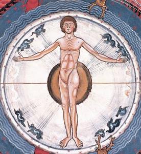 """L'Homme au centre de l'Univers. Extrait du Livre des œuvres divines (1163-1174). Troisième Vision. """"Dans la forme de l'homme, c'est la totalité de son oeuvre que Dieu a consignée"""""""