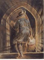 William Blake (1757-1827) L'entrée de Los dans la tombe (Los entering the Grave) Illustration pour Jerusalem, 1804-1820, Yale Center for British Art (New Haven, Connecticut), aquarelle
