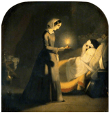 J. Butterworth (attribué à) Florence Nightingale « La Femme à la Lampe » (Florence Nightingale as The Lady with the lamp) Sans date, Wellcome Library (Londres), huile sur toile