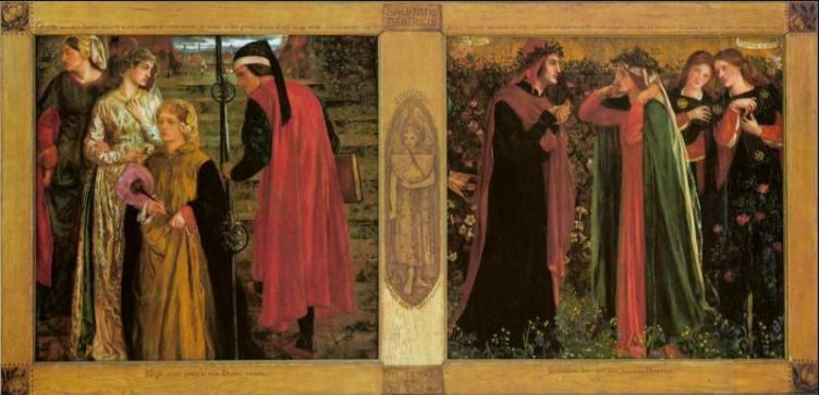 Dante Gabriel Rossetti (1828 - 1882) La Salutation de Béatrice- 1859, National Gallery of Canada, Ottawa, huile sur 2 panneaux