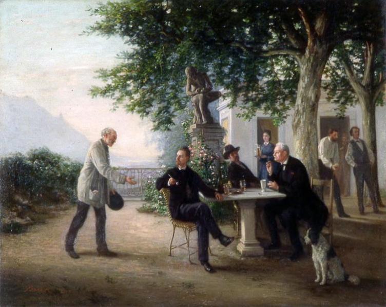 Réunion d'amis, par Edme Gustave Frédéric Brun, 4e quart 19e siècle, Musée des beaux-arts de Dole