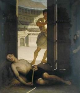 Un martyr chrétien sous le règne de Dioclétien, Ernest Slingeneyer, Guildhall Art Gallery (Londres), vers 1863 huile sur bois,  53 x 47 cm