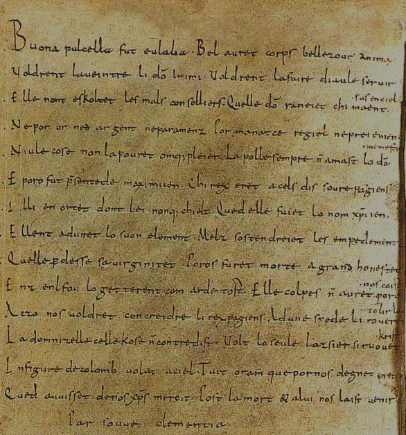 Manuscrit de la Séquence de Sainte Eulalie, vers 881, Ms. du IXe s.: Bibliothèque de Valenciennes, no. 150, fol. 141v.