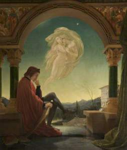 Joseph Noel Paton, Dante Meditating the Episode of Francesca da Rimini and Paolo Malatesta, Bury Art Museum, huile sur toile