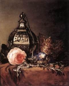 Dirck de Bray (1635-1694) Nature-Morte aux symboles de la Vierge MArie, 1672, Musée d'Almstelkring (Amsterdam) 31x37 cm, ©Musée d'Almstelkring (Amsterdam)