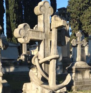 Tombe à l'Ancre, symbole d'espérance dans le Cimetière des Anglais de Florence
