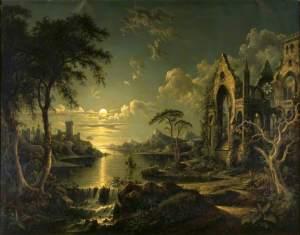 Sebastian Pether (1790-1844), Ruines gothiques au clair de lune, 1841, National Trust