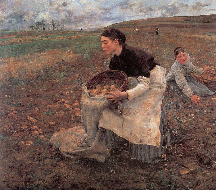 Jules Bastien Lepage, Saison d'octobre, récolte de pommes de terre ,1879, National Gallery of Victoria, Melbourne, huile sur toile, ©National Gallery of Victoria, Melbourne