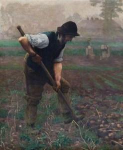 Thomas Frederick Mason Sheard (1866-1921), Un homme récoltant des pommes de terre (A Man Digging Potatoes),1890 huile sur toile, 139.5 x 109 cm, Oxford City Council